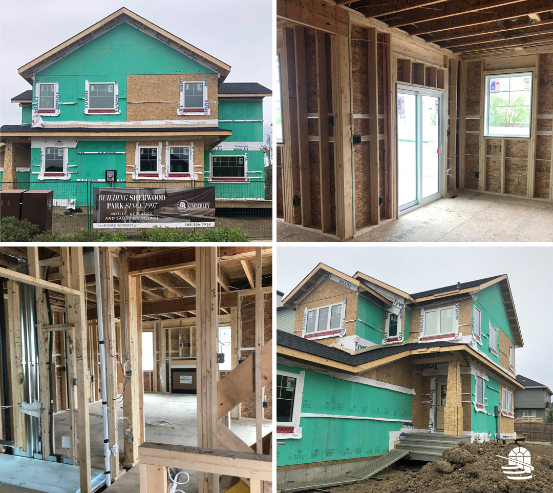 A collage of images showing a home under construction