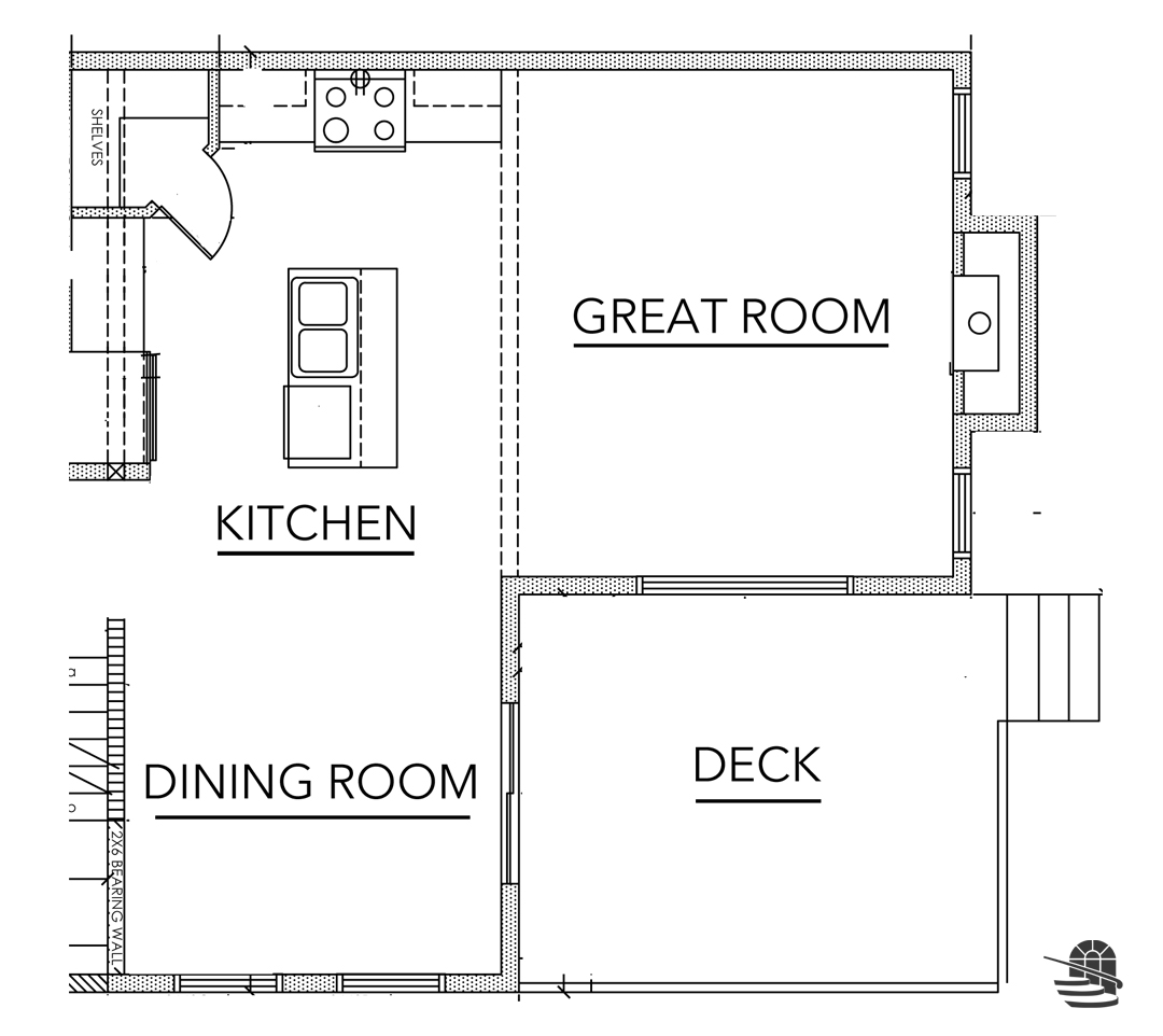 Blackline outline showing the main floor of a home